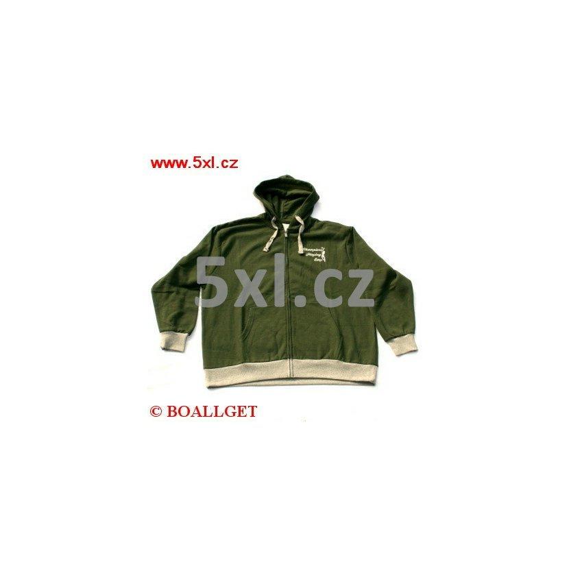 Pánská mikina zelená propínací s kapucí  e4dcb26164