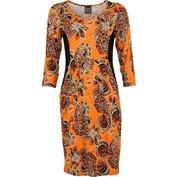 Šaty oranžovo - černé spotiskem - velikost 3XL - 4XL