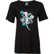 Dámské tričko černé se stříbrno - modrým potiskem kytek - velikost 3XL