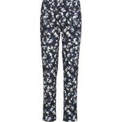 Dámské kalhoty tmavě modré spotiskem bílých květů elastické - velikost 3XL